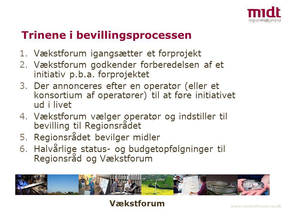 Vækstforum www.vaekstforum.rm.dk Trinene i bevillingsprocessen 1.Vækstforum igangsætter et forprojekt 2.Vækstforum godkender forberedelsen af et initiativ p.b.a.