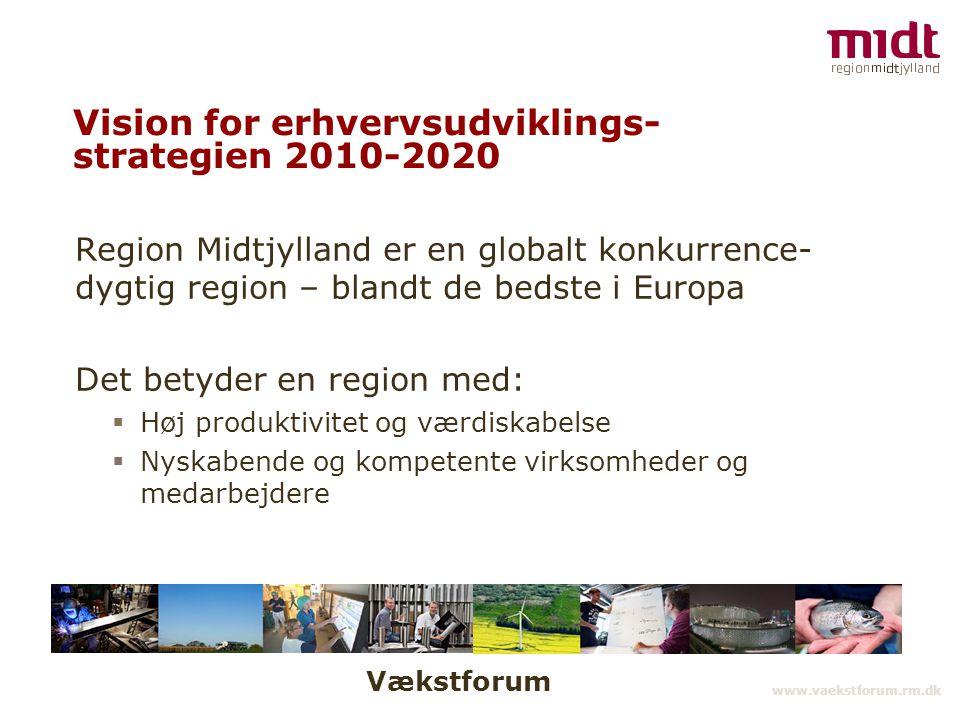 Vækstforum www.vaekstforum.rm.dk Vision for erhvervsudviklings- strategien 2010-2020 Region Midtjylland er en globalt konkurrence- dygtig region – blandt de bedste i Europa Det betyder en region med:  Høj produktivitet og værdiskabelse  Nyskabende og kompetente virksomheder og medarbejdere
