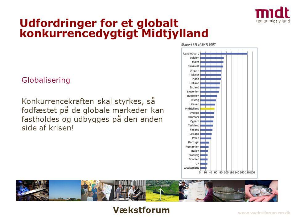 Vækstforum www.vaekstforum.rm.dk Udfordringer for et globalt konkurrencedygtigt Midtjylland Globalisering Konkurrencekraften skal styrkes, så fodfæstet på de globale markeder kan fastholdes og udbygges på den anden side af krisen!