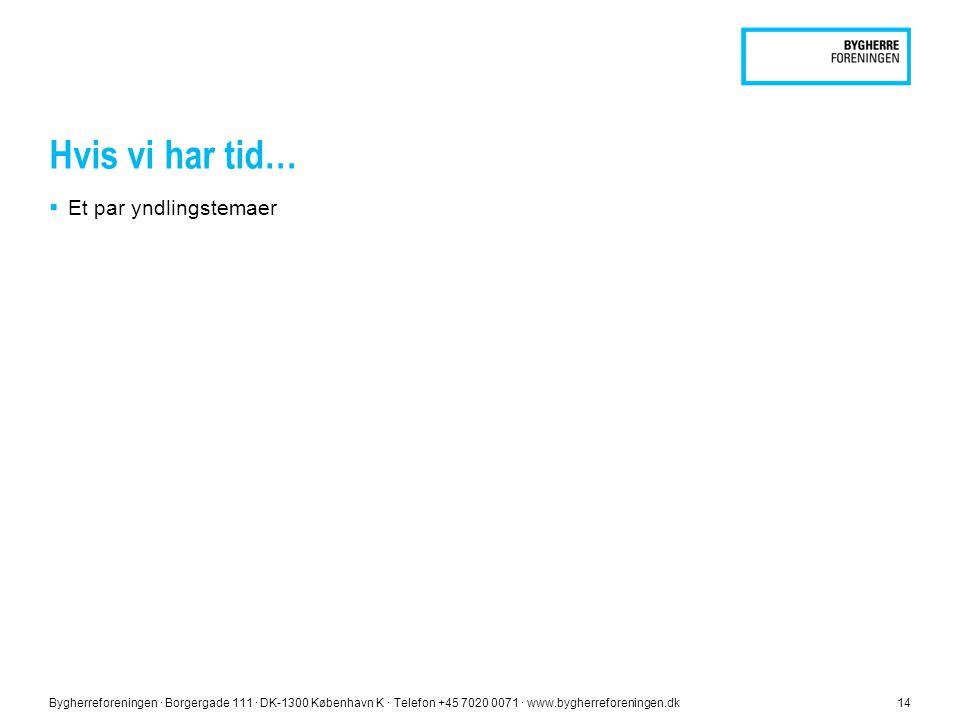Hvis vi har tid…  Et par yndlingstemaer Bygherreforeningen ∙ Borgergade 111 ∙ DK-1300 København K ∙ Telefon +45 7020 0071 ∙ www.bygherreforeningen.dk14