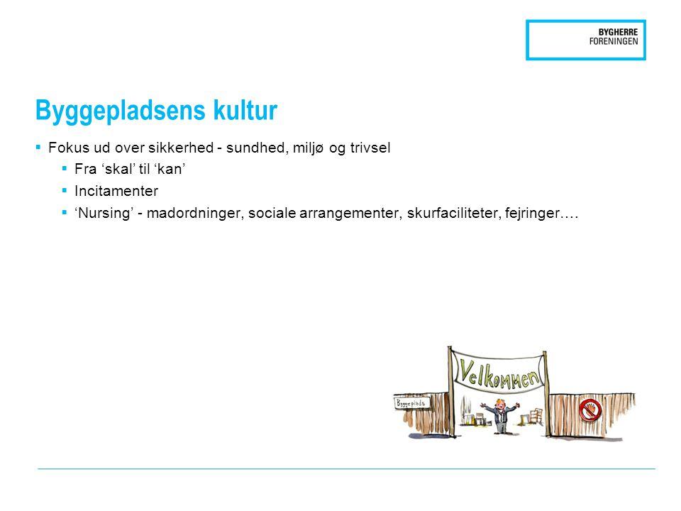 Byggepladsens kultur  Fokus ud over sikkerhed - sundhed, miljø og trivsel  Fra 'skal' til 'kan'  Incitamenter  'Nursing' - madordninger, sociale arrangementer, skurfaciliteter, fejringer….