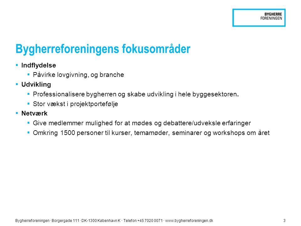 Bygherreforeningen ∙ Borgergade 111 ∙ DK-1300 København K ∙ Telefon +45 7020 0071 ∙ www.bygherreforeningen.dk3 Bygherreforeningens fokusområder  Indflydelse  Påvirke lovgivning, og branche  Udvikling  Professionalisere bygherren og skabe udvikling i hele byggesektoren.