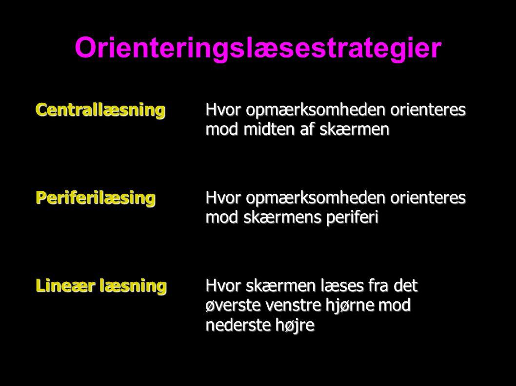 Orienteringslæsestrategier Centrallæsning Hvor opmærksomheden orienteres mod midten af skærmen Periferilæsing Hvor opmærksomheden orienteres mod skærmens periferi Lineær læsning Hvor skærmen læses fra det øverste venstre hjørne mod nederste højre