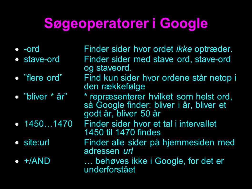 Søgeoperatorer i Google  -ordFinder sider hvor ordet ikke optræder.