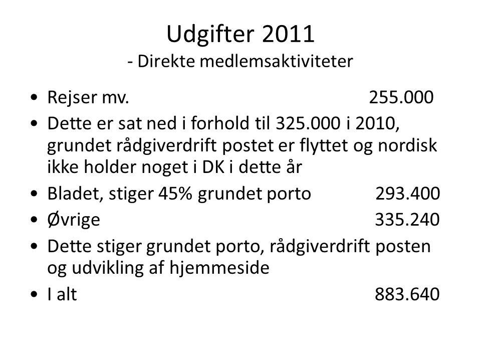 Udgifter 2011 - Direkte medlemsaktiviteter •Rejser mv.