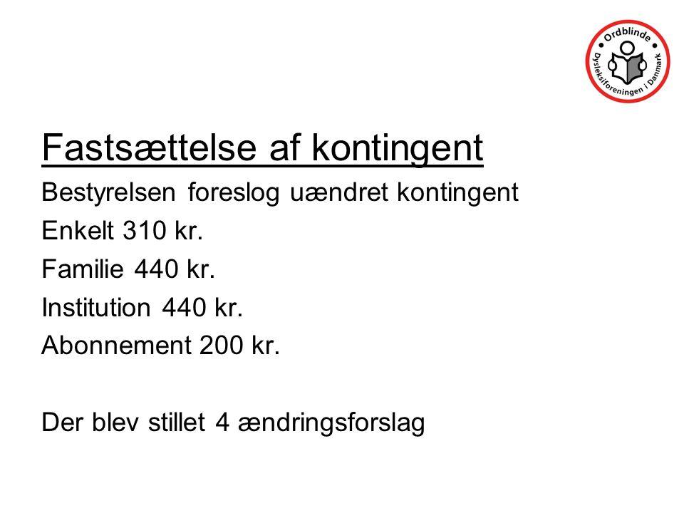 Fastsættelse af kontingent Bestyrelsen foreslog uændret kontingent Enkelt 310 kr.