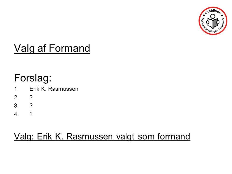 Valg af Formand Forslag: 1.Erik K. Rasmussen 2. 3. 4. Valg: Erik K. Rasmussen valgt som formand