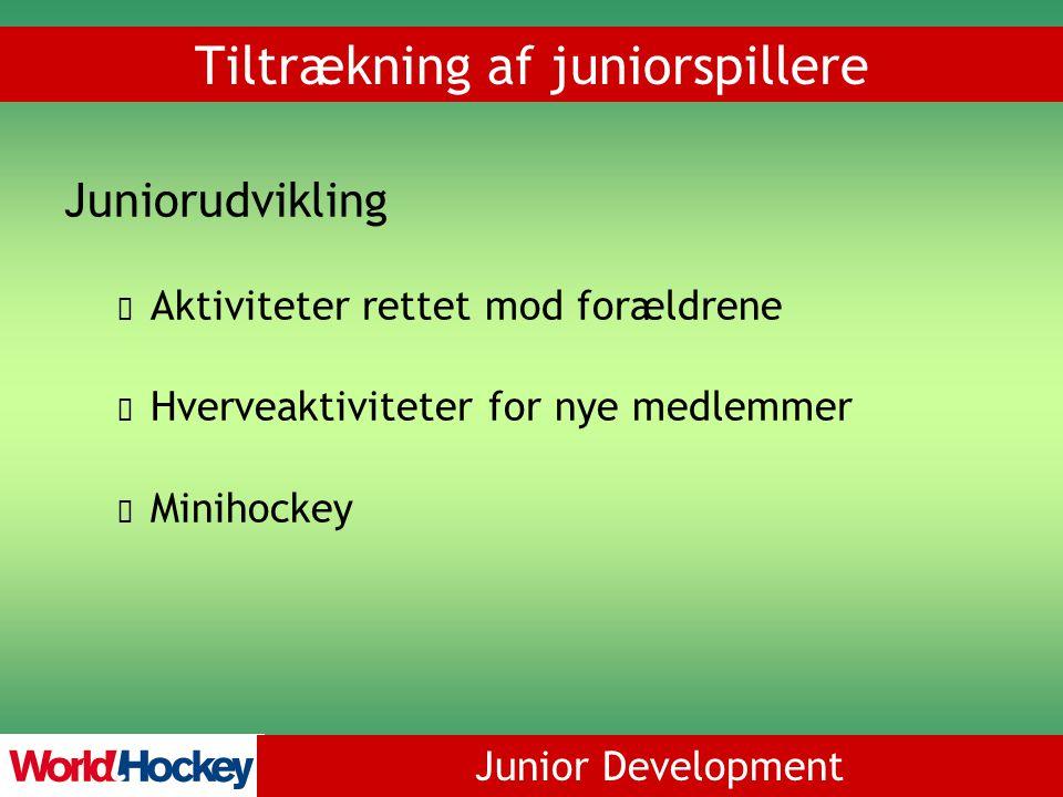 Junior Development Juniorudvikling Aktiviteter rettet mod forældrene Hverveaktiviteter for nye medlemmer Minihockey Tiltrækning af juniorspillere