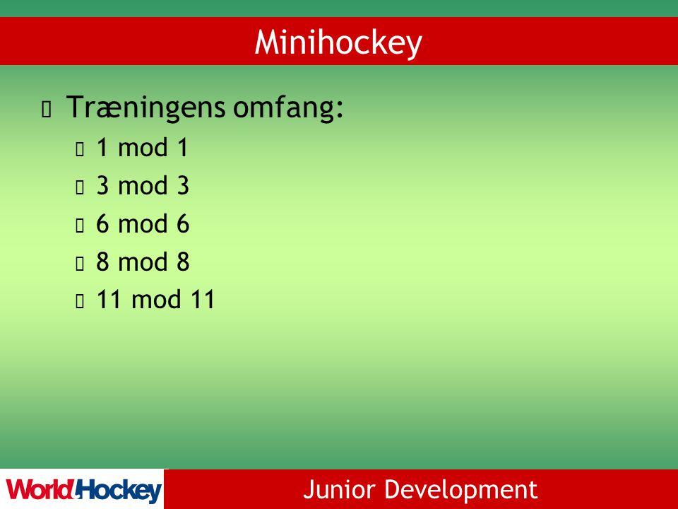 Junior Development Minihockey Træningens omfang: 1 mod 1 3 mod 3 6 mod 6 8 mod 8 11 mod 11