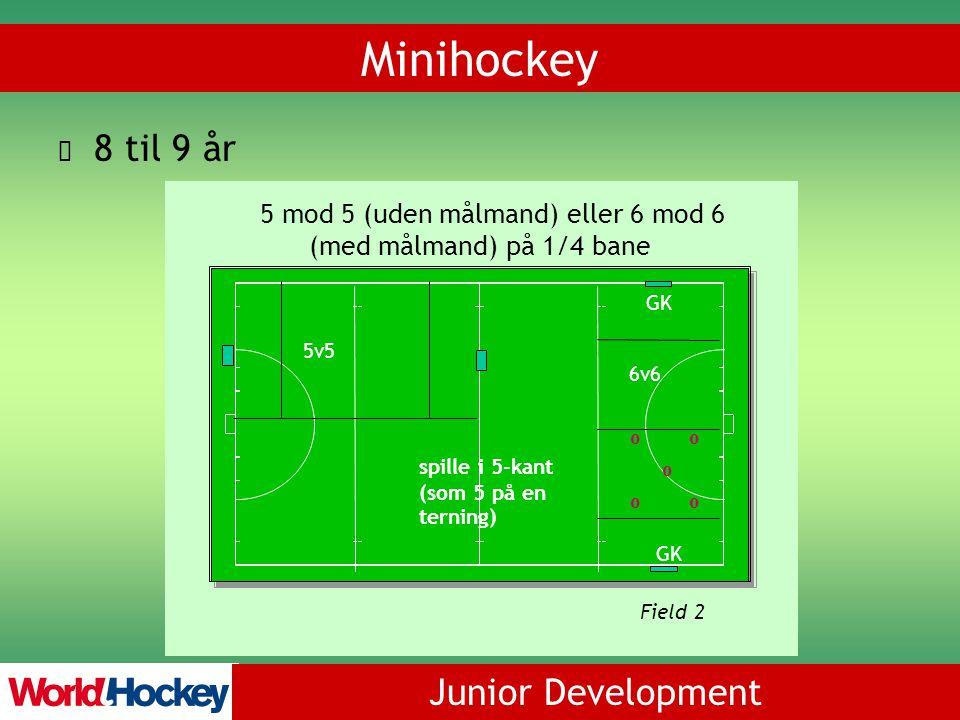 Junior Development Minihockey 8 til 9 år 5v5 6v6 spille i 5-kant (som 5 på en terning) GK oo oo o Field 2 5 mod 5 (uden målmand) eller 6 mod 6 (med målmand) på 1/4 bane