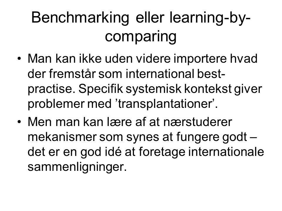 Benchmarking eller learning-by- comparing •Man kan ikke uden videre importere hvad der fremstår som international best- practise.