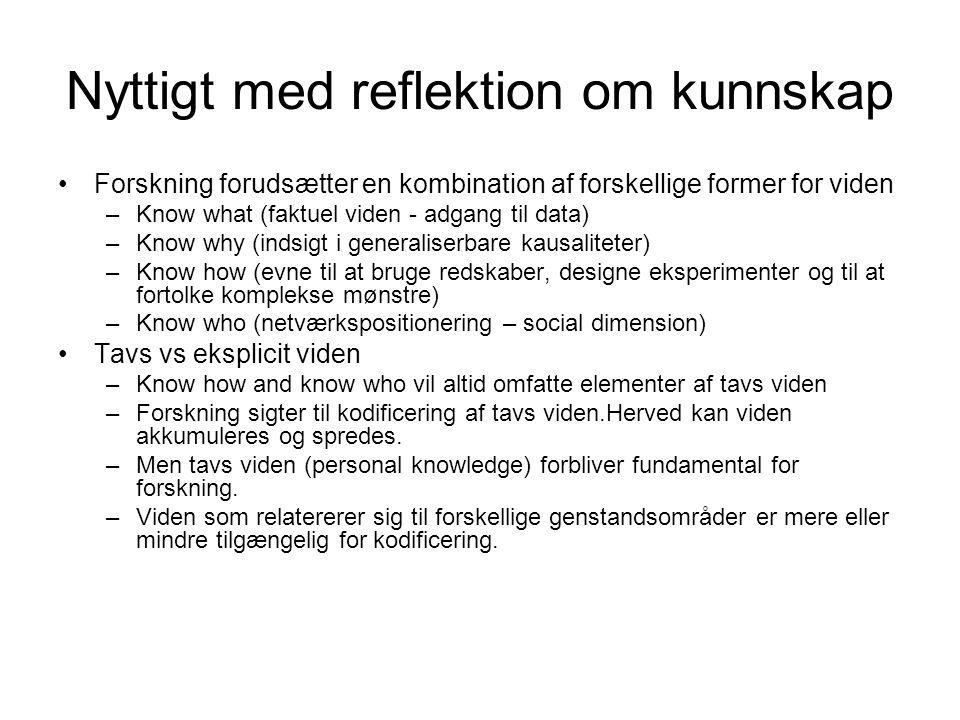 Nyttigt med reflektion om kunnskap •Forskning forudsætter en kombination af forskellige former for viden –Know what (faktuel viden - adgang til data) –Know why (indsigt i generaliserbare kausaliteter) –Know how (evne til at bruge redskaber, designe eksperimenter og til at fortolke komplekse mønstre) –Know who (netværkspositionering – social dimension) •Tavs vs eksplicit viden –Know how and know who vil altid omfatte elementer af tavs viden –Forskning sigter til kodificering af tavs viden.Herved kan viden akkumuleres og spredes.