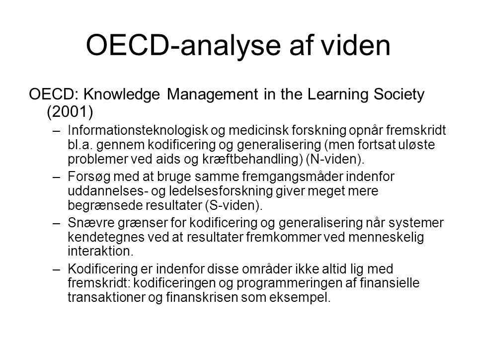OECD-analyse af viden OECD: Knowledge Management in the Learning Society (2001) –Informationsteknologisk og medicinsk forskning opnår fremskridt bl.a.