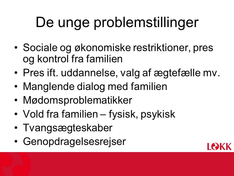 De unge problemstillinger •Sociale og økonomiske restriktioner, pres og kontrol fra familien •Pres ift.