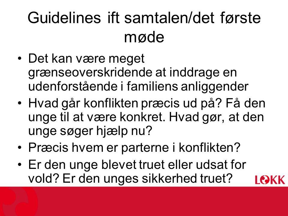 Guidelines ift samtalen/det første møde •Det kan være meget grænseoverskridende at inddrage en udenforstående i familiens anliggender •Hvad går konflikten præcis ud på.