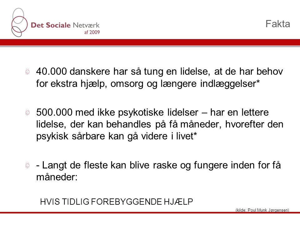 Fakta 40.000 danskere har så tung en lidelse, at de har behov for ekstra hjælp, omsorg og længere indlæggelser* 500.000 med ikke psykotiske lidelser – har en lettere lidelse, der kan behandles på få måneder, hvorefter den psykisk sårbare kan gå videre i livet* - Langt de fleste kan blive raske og fungere inden for få måneder: HVIS TIDLIG FOREBYGGENDE HJÆLP (kilde: Poul Munk Jørgensen)