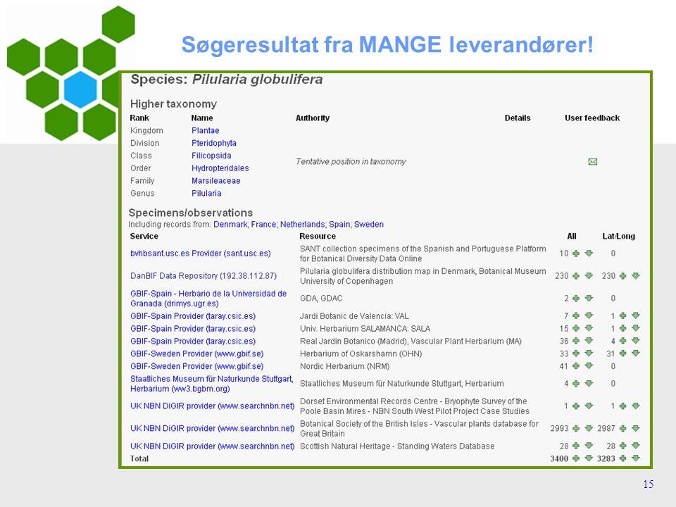 15 Søgeresultat fra MANGE leverandører!