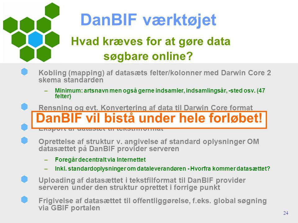 24 DanBIF værktøjet Hvad kræves for at gøre data søgbare online.