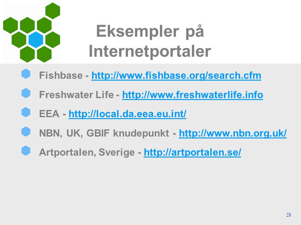 28 Eksempler på Internetportaler Fishbase - http://www.fishbase.org/search.cfmhttp://www.fishbase.org/search.cfm Freshwater Life - http://www.freshwaterlife.infohttp://www.freshwaterlife.info EEA - http://local.da.eea.eu.int/http://local.da.eea.eu.int/ NBN, UK, GBIF knudepunkt - http://www.nbn.org.uk/http://www.nbn.org.uk/ Artportalen, Sverige - http://artportalen.se/http://artportalen.se/