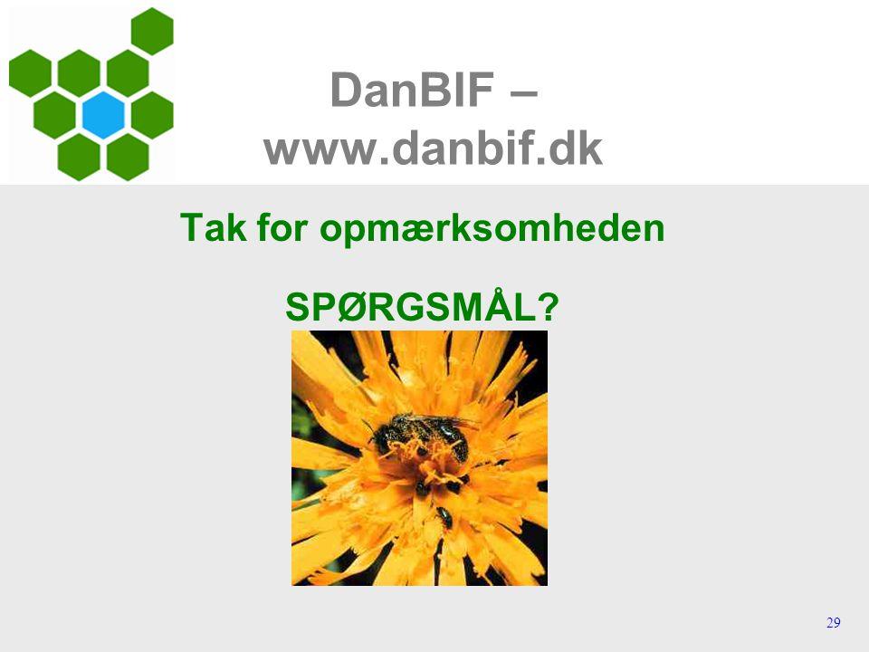 29 DanBIF – www.danbif.dk Tak for opmærksomheden SPØRGSMÅL