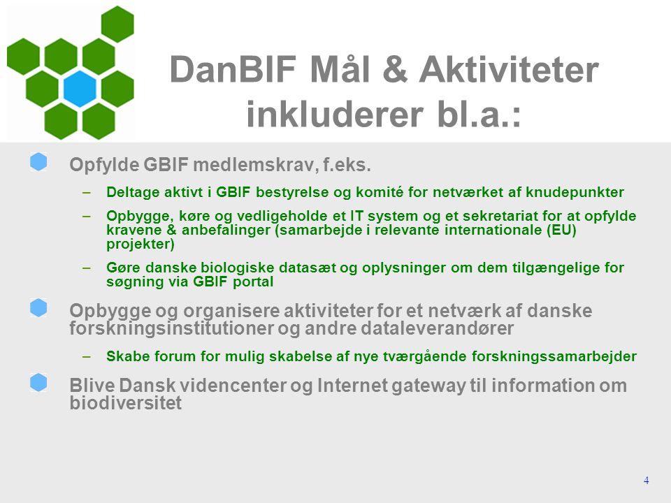 4 DanBIF Mål & Aktiviteter inkluderer bl.a.: Opfylde GBIF medlemskrav, f.eks.