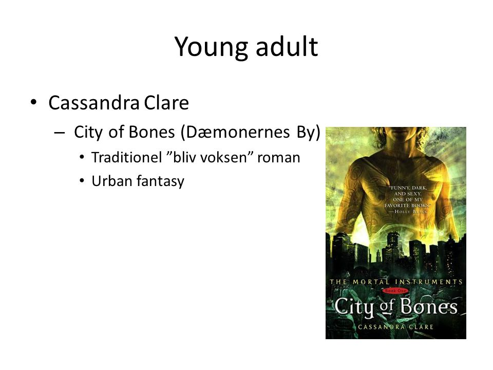 Young adult • Cassandra Clare – City of Bones (Dæmonernes By) • Traditionel bliv voksen roman • Urban fantasy