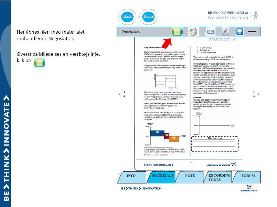 Her åbnes filen med materialet omhandlende Negosiation Øverst på billede ses en værktøjslinje, klik på