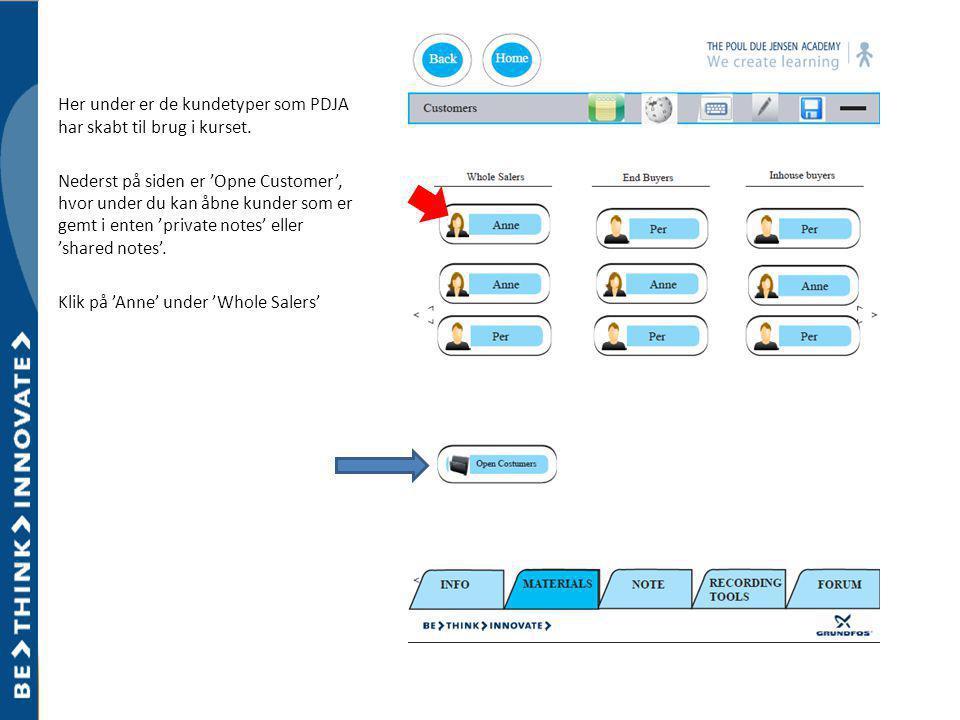 Her under er de kundetyper som PDJA har skabt til brug i kurset.