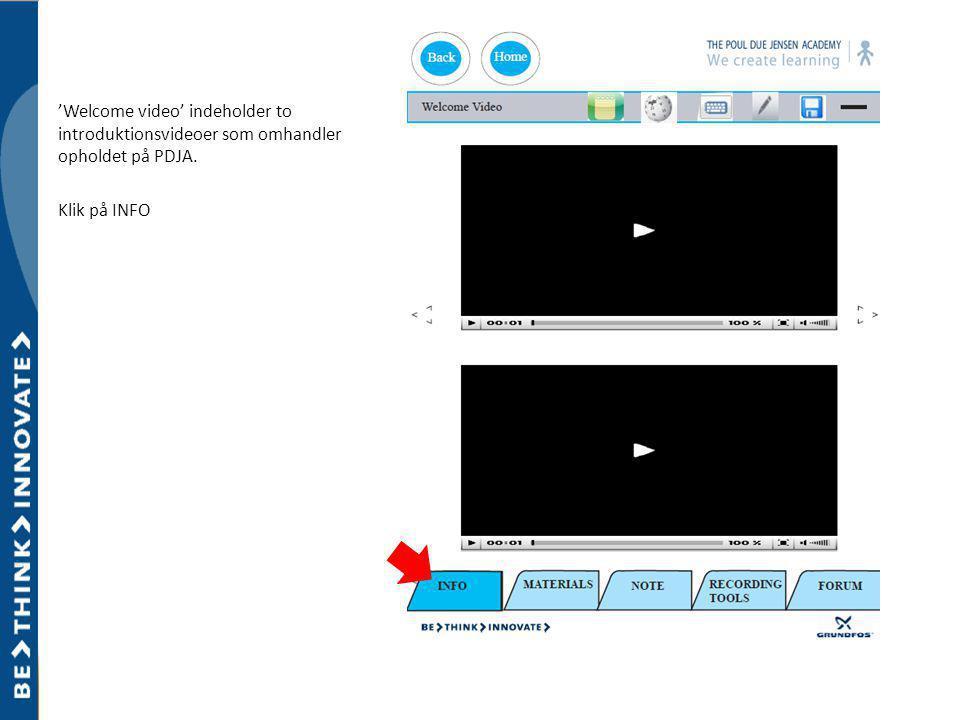 'Welcome video' indeholder to introduktionsvideoer som omhandler opholdet på PDJA. Klik på INFO