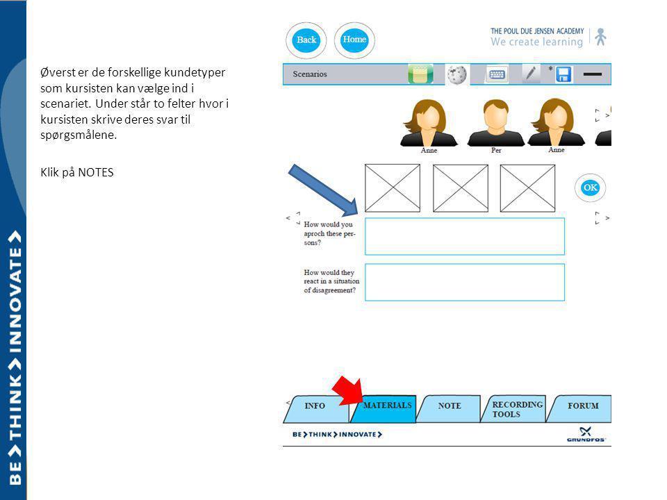 Øverst er de forskellige kundetyper som kursisten kan vælge ind i scenariet.