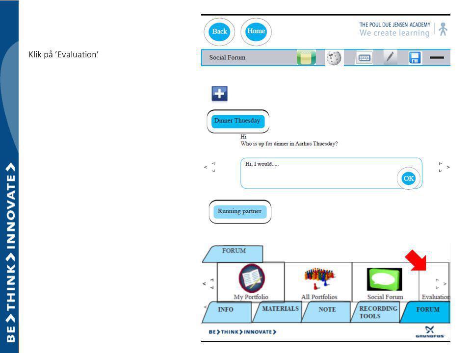 Klik på 'Evaluation'