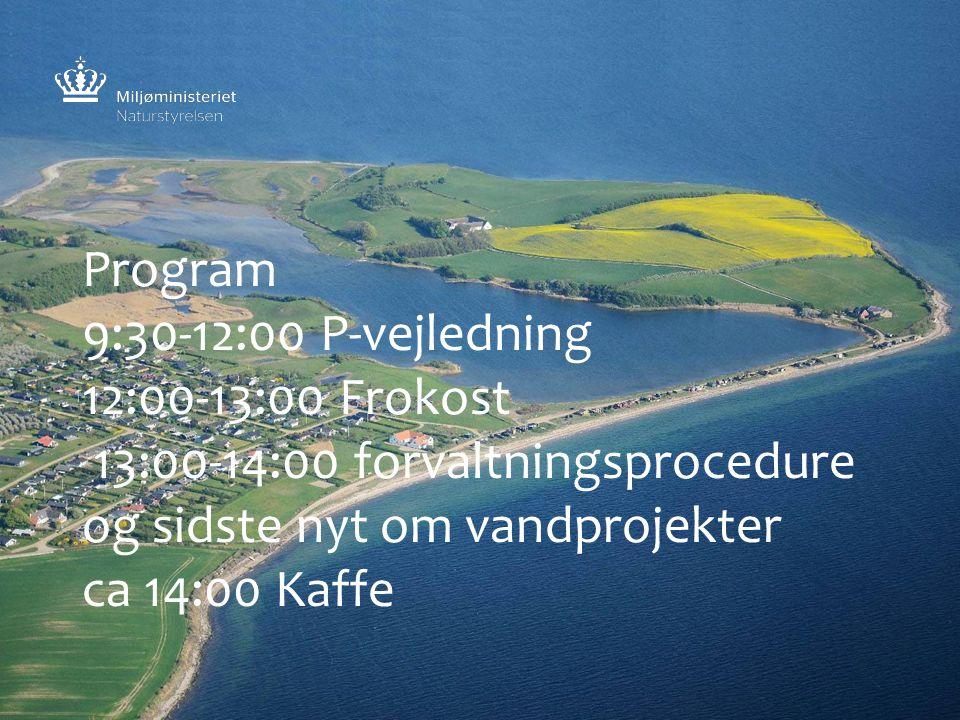 Program 9:30-12:00 P-vejledning 12:00-13:00 Frokost 13:00-14:00 forvaltningsprocedure og sidste nyt om vandprojekter ca 14:00 Kaffe
