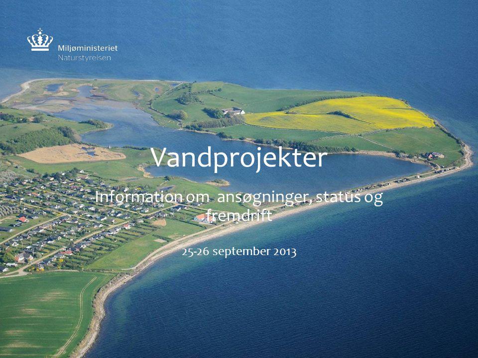 Vandprojekter Information om ansøgninger, status og fremdrift 25-26 september 2013