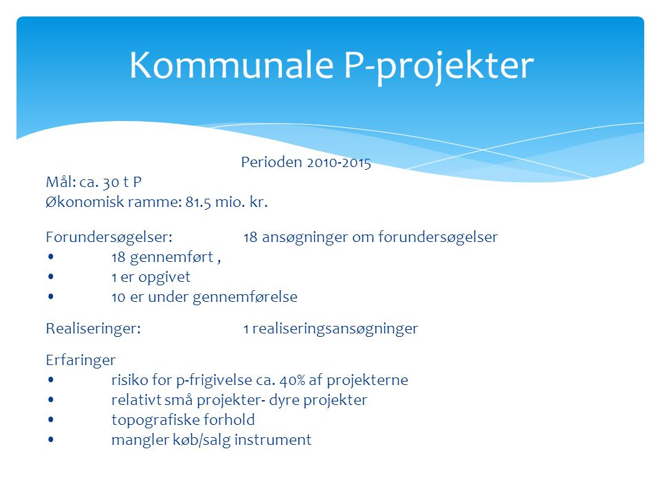 Kommunale P-projekter Perioden 2010-2015 Mål: ca. 30 t P Økonomisk ramme: 81.5 mio.