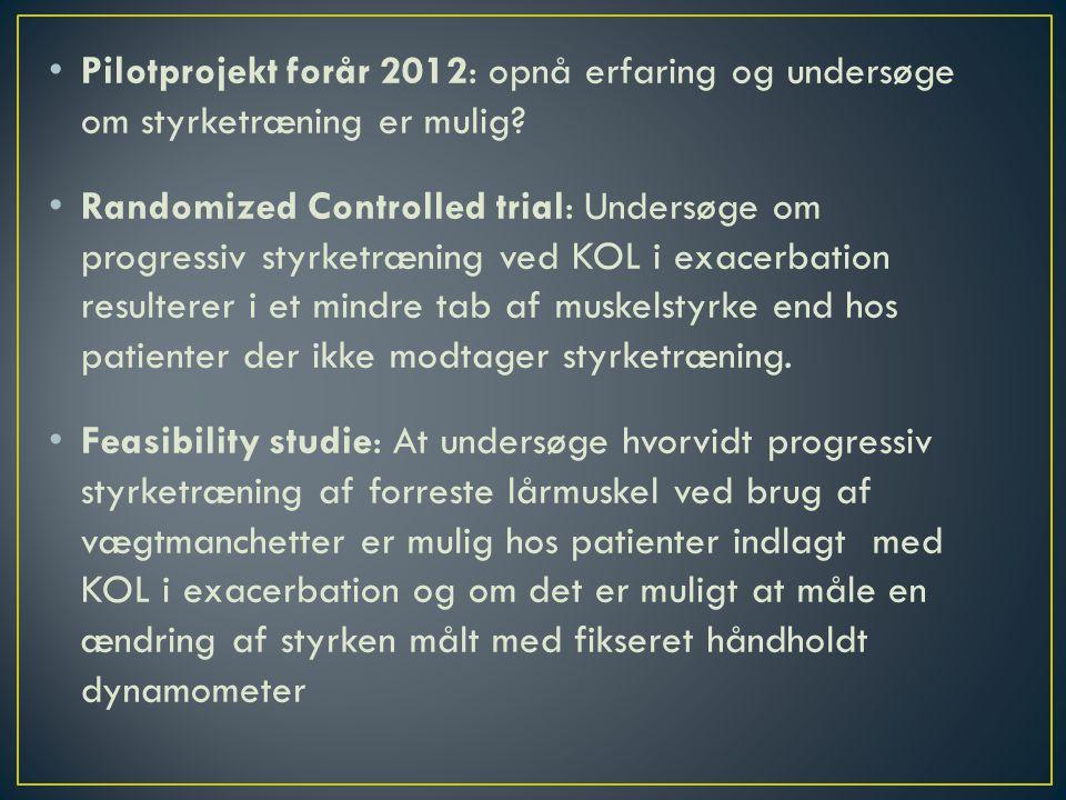 • Pilotprojekt forår 2012: opnå erfaring og undersøge om styrketræning er mulig.