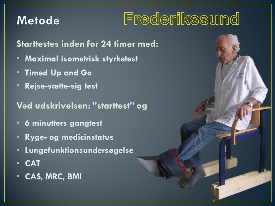 Starttestes inden for 24 timer med: • Maximal isometrisk styrketest • Timed Up and Go • Rejse-sætte-sig test Ved udskrivelsen: starttest og • 6 minutters gangtest • Ryge- og medicinstatus • Lungefunktionsundersøgelse • CAT • CAS, MRC, BMI