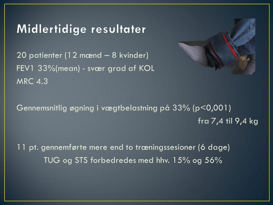 20 patienter (12 mænd – 8 kvinder) FEV1 33%(mean) - svær grad af KOL MRC 4.3 Gennemsnitlig øgning i vægtbelastning på 33% (p<0,001) fra 7,4 til 9,4 kg 11 pt.