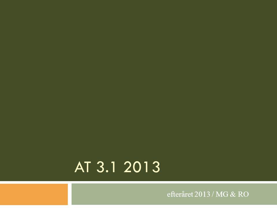 AT 3.1 2013 efteråret 2013 / MG & RO