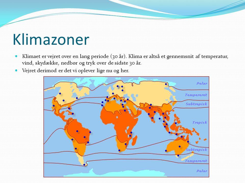 Klimazoner  Klimaet er vejret over en lang periode (30 år).