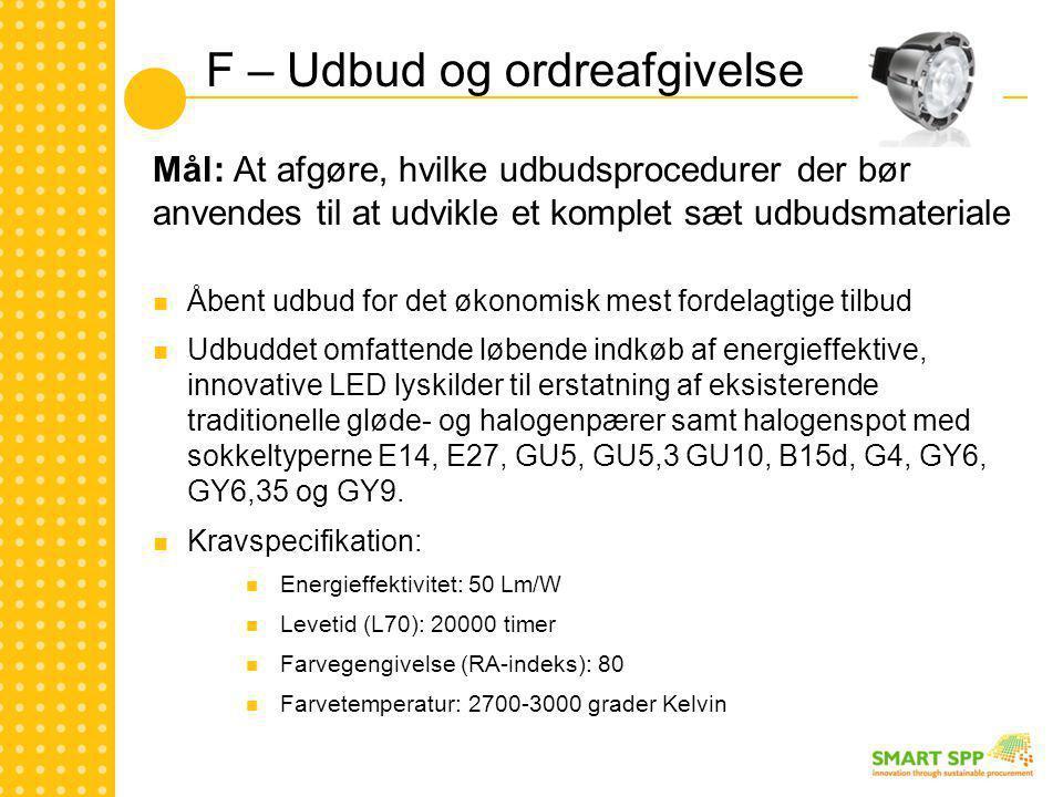 F – Udbud og ordreafgivelse Mål: At afgøre, hvilke udbudsprocedurer der bør anvendes til at udvikle et komplet sæt udbudsmateriale  Åbent udbud for det økonomisk mest fordelagtige tilbud  Udbuddet omfattende løbende indkøb af energieffektive, innovative LED lyskilder til erstatning af eksisterende traditionelle gløde- og halogenpærer samt halogenspot med sokkeltyperne E14, E27, GU5, GU5,3 GU10, B15d, G4, GY6, GY6,35 og GY9.