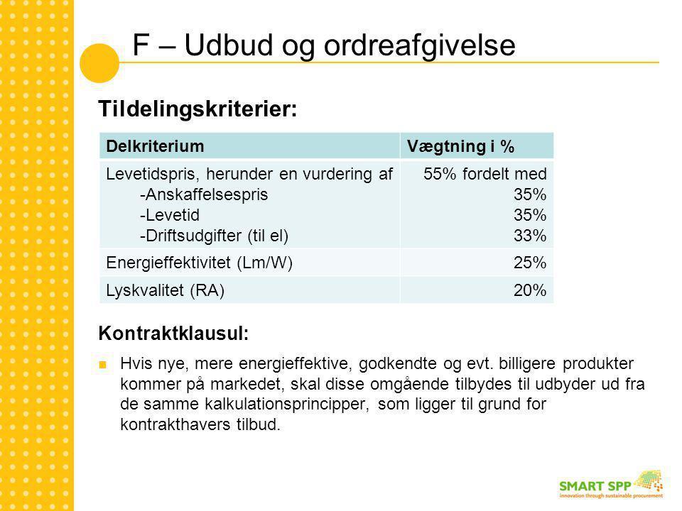 F – Udbud og ordreafgivelse Tildelingskriterier: Kontraktklausul:  Hvis nye, mere energieffektive, godkendte og evt.