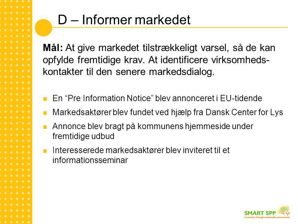 D – Informer markedet Mål: At give markedet tilstrækkeligt varsel, så de kan opfylde fremtidige krav.