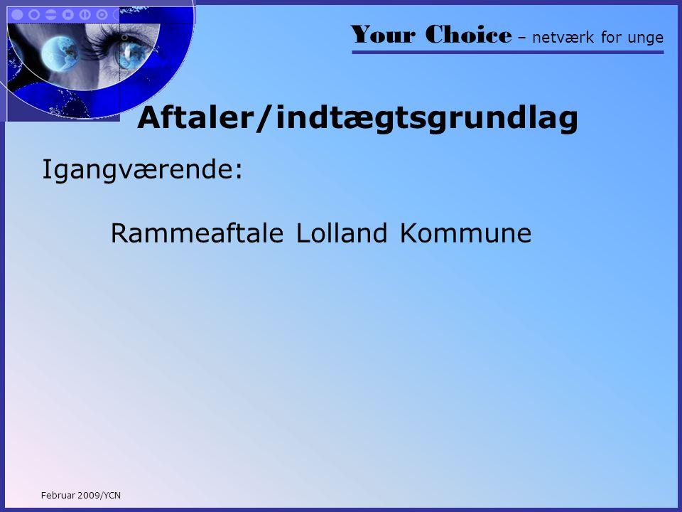 Your Choice – netværk for unge Februar 2009/YCN Aftaler/indtægtsgrundlag Igangværende: Rammeaftale Lolland Kommune