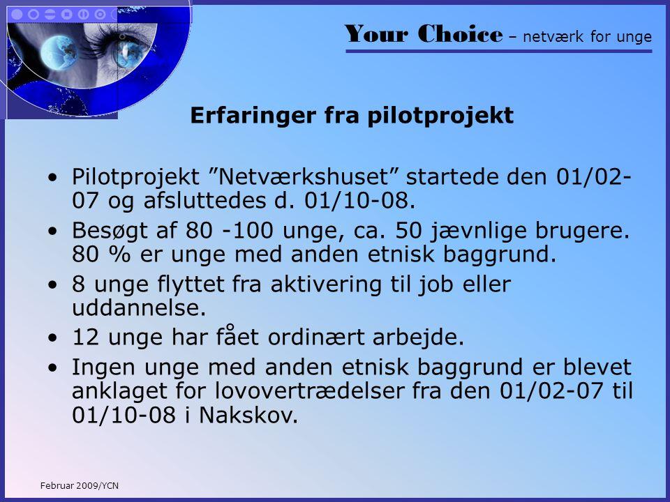 Your Choice – netværk for unge Februar 2009/YCN Erfaringer fra pilotprojekt •Pilotprojekt Netværkshuset startede den 01/02- 07 og afsluttedes d.