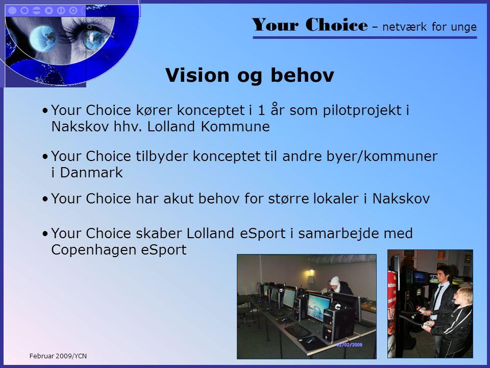 Your Choice – netværk for unge Februar 2009/YCN Vision og behov •Your Choice kører konceptet i 1 år som pilotprojekt i Nakskov hhv.