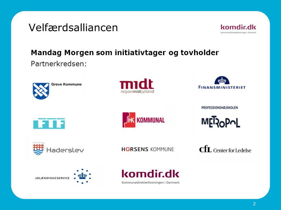 2 Velfærdsalliancen Mandag Morgen som initiativtager og tovholder Partnerkredsen:
