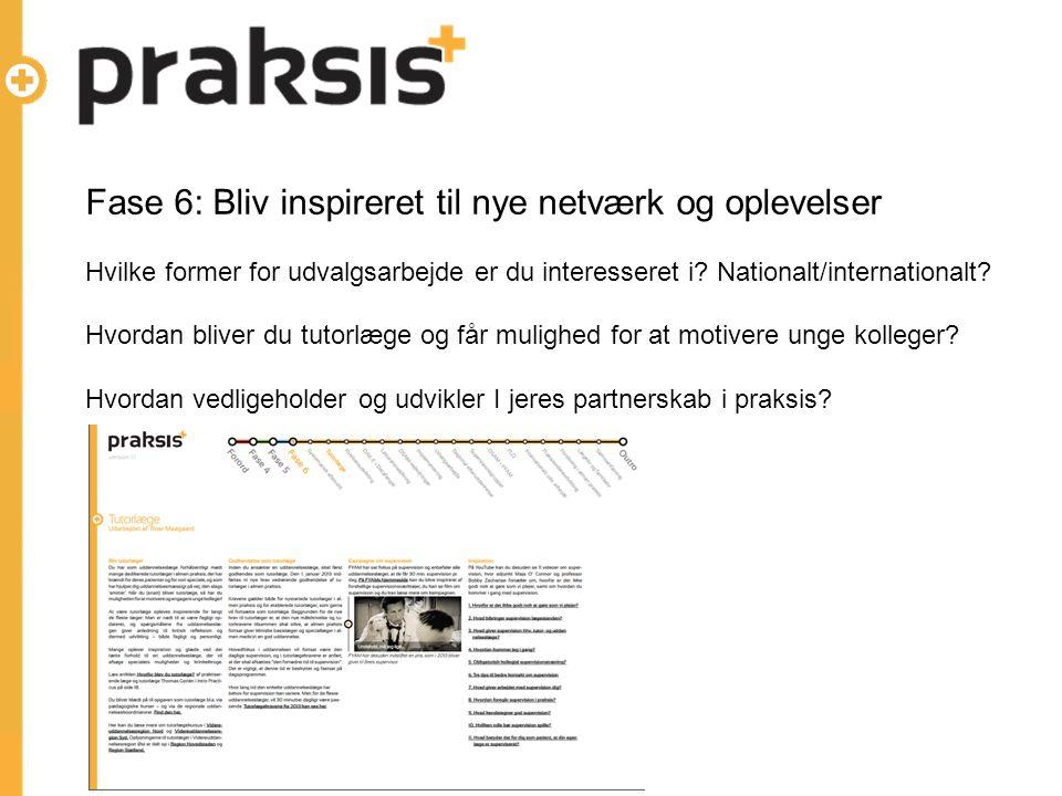 Fase 6: Bliv inspireret til nye netværk og oplevelser Hvilke former for udvalgsarbejde er du interesseret i.