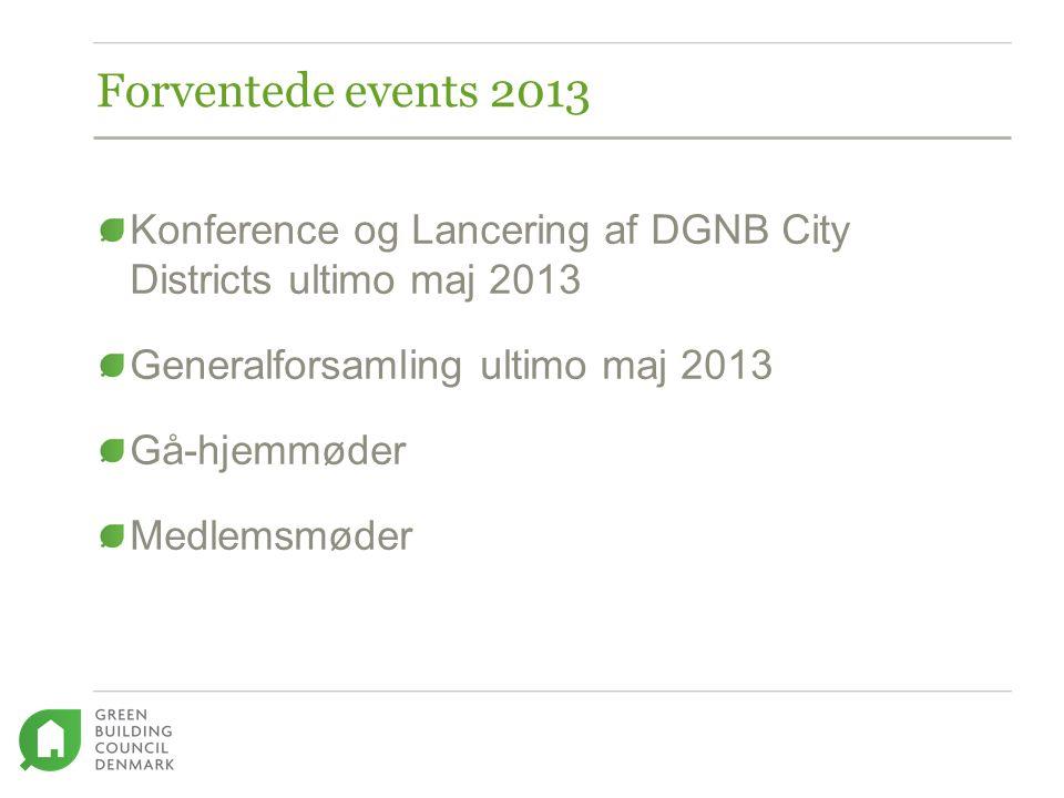 Konference og Lancering af DGNB City Districts ultimo maj 2013 Generalforsamling ultimo maj 2013 Gå-hjemmøder Medlemsmøder Forventede events 2013
