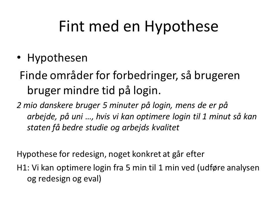 Fint med en Hypothese • Hypothesen Finde områder for forbedringer, så brugeren bruger mindre tid på login.