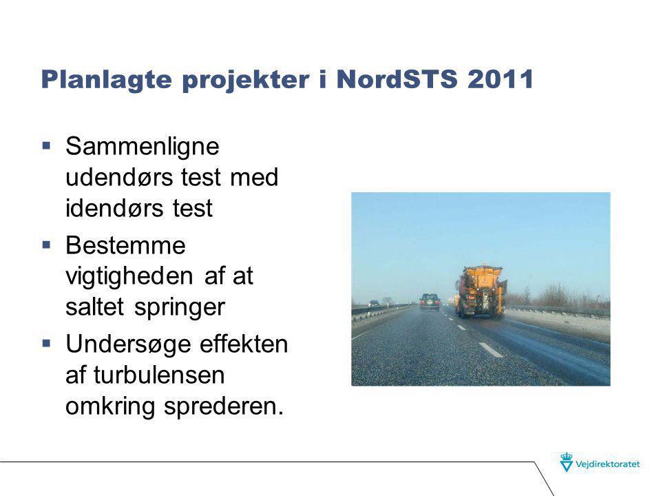 Planlagte projekter i NordSTS 2011  Sammenligne udendørs test med idendørs test  Bestemme vigtigheden af at saltet springer  Undersøge effekten af turbulensen omkring sprederen.